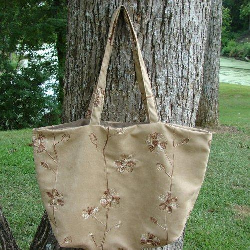 Washable Embroidered Suede Tote fully lined Extra Large