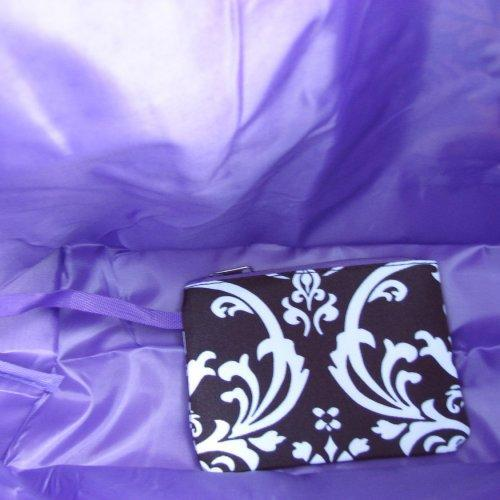 Extra Large Black and White DAMASK with Purple trim tote fully line......