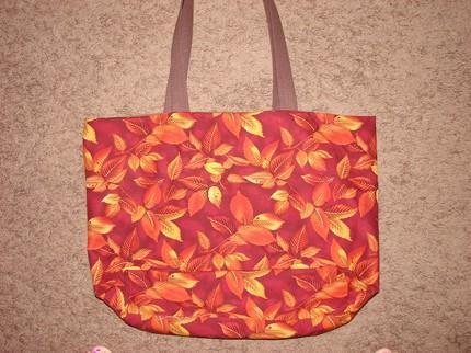 Fall Leaf Pattern Tote fully lined with interior pocket Extra Large