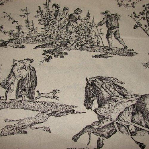 Black on Grey Toile fabric 100% Cotton BTY