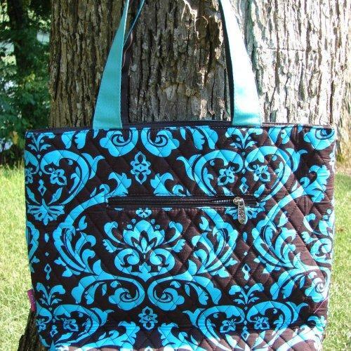 Extra Large QUILTED Blue and Black Damask DIAPER BAG with matching ......