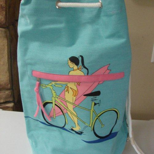 Extra Large Blue Surfer girl with bike Duffel Bag with Drawstring c......
