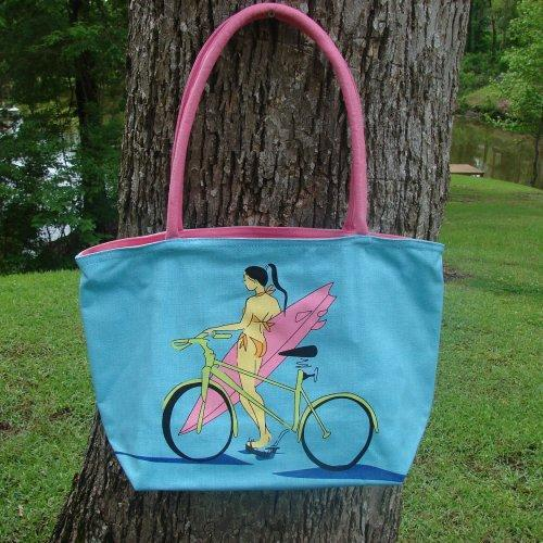 Medium sized Blue Surfer Girl with Bike Canvas tote with interior o......