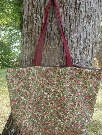 Pine Cones and Berries Holiday Tote Extra Largefully lined with inte
