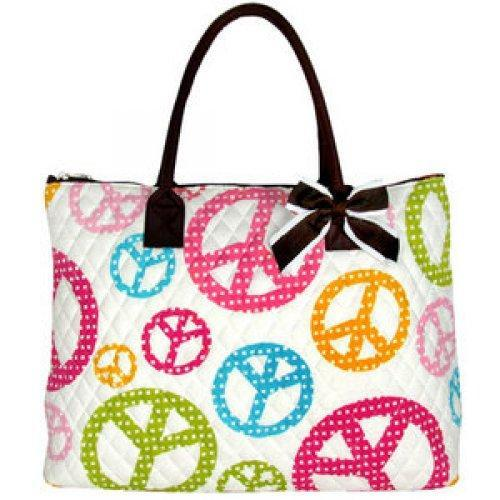 Extra Large Quilted Peace Signs Tote on White with removable Bow an......
