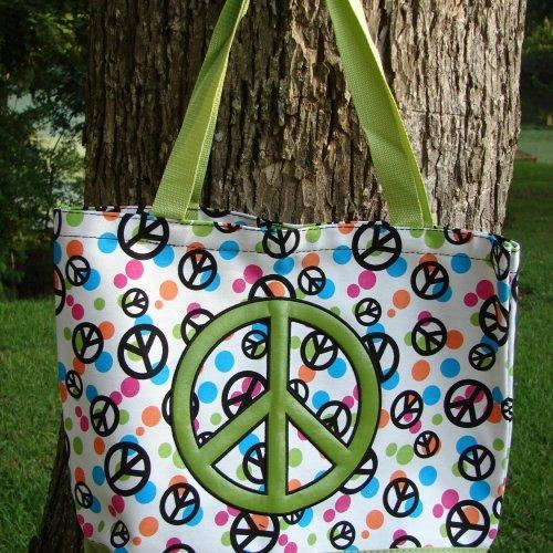 Extra Large Hippe Green Peace signs tote fully lined with matching ......