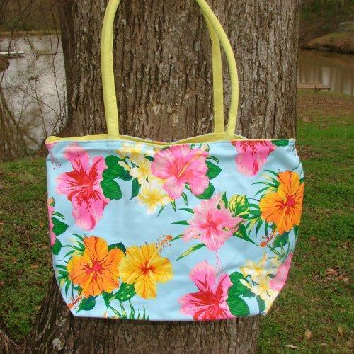 Large Blue Tropical Floral Tote with interior organizer pocket