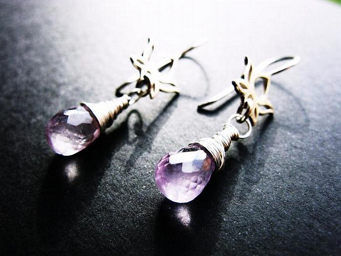Beautiful Pink Amethyst Earrings on Sterling Silver Lotus Flower Earwires,
