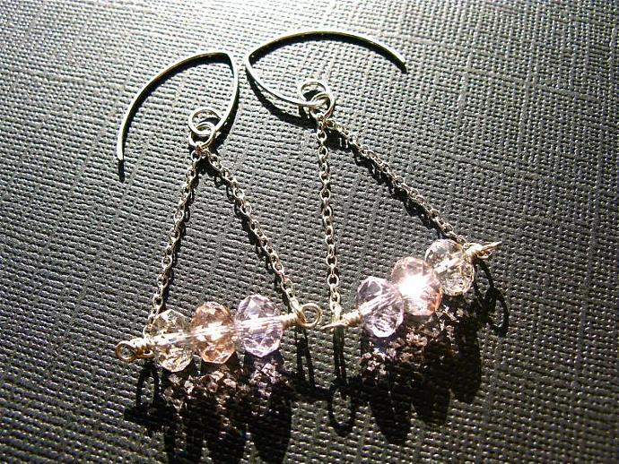 Swarovski Rondelle & Sterling Silver Earrings in Pink Shades, Wedding Jewelry,