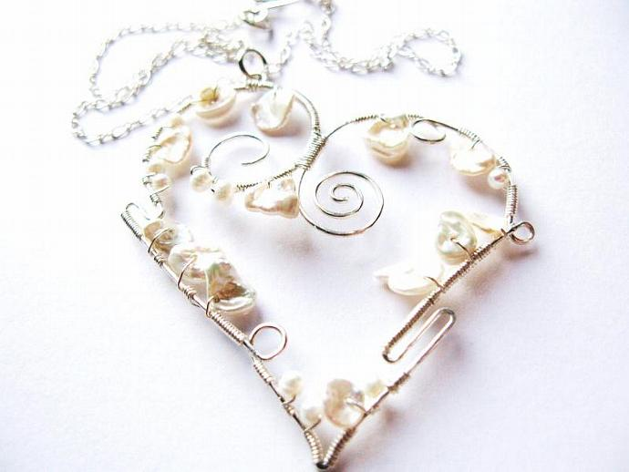 Sterling Silver & Freshwater Keishi Pearl Twisted Heart Necklace, Perfect