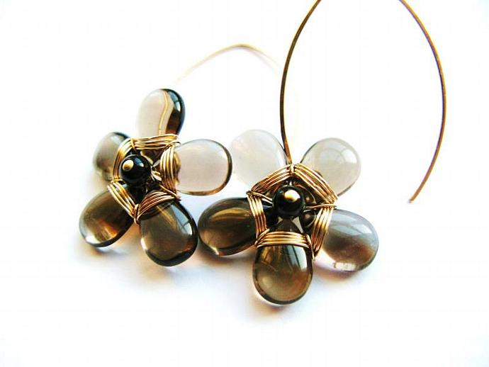 Gold Fill & Smokey Quartz Flower Earrings - Statement Piece - Wire Wrapped,