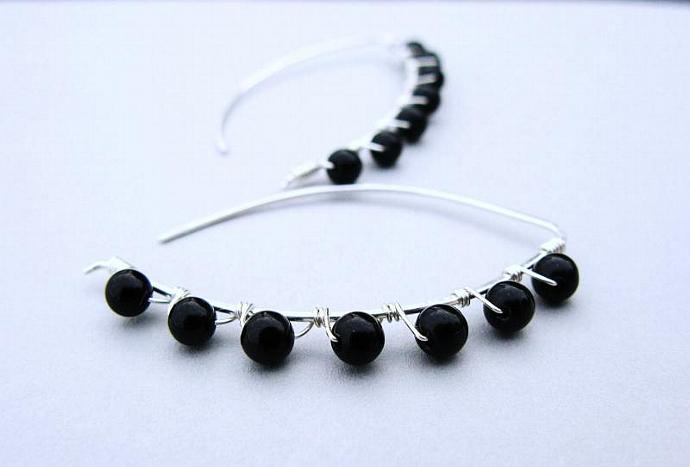 Wire Wrapped Black Onyx & Sterling Silver Almond Shape Hoops, Gemstone Earrings,