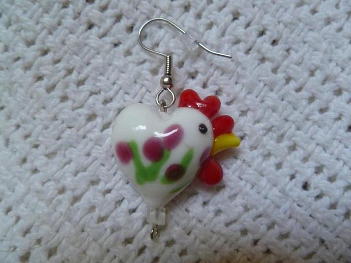 Lampwork Glass Chicken Earrings