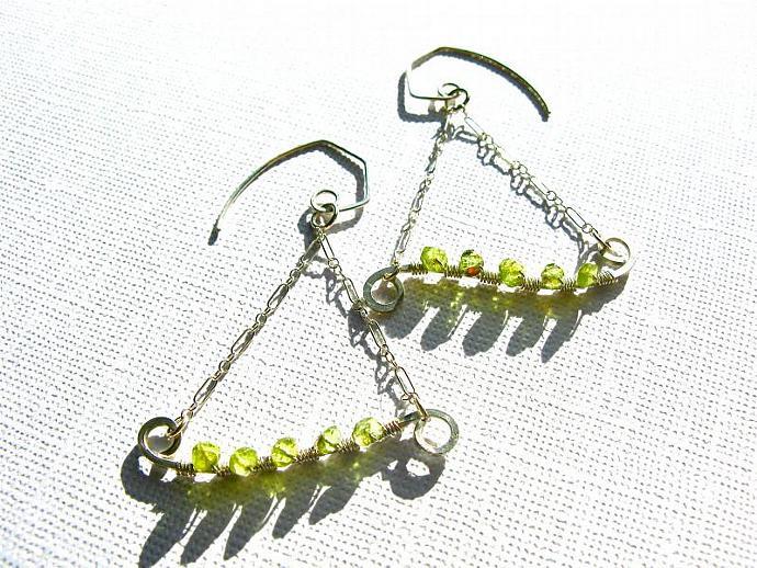 Peridot Trapeeze Wire Wrapped Sterling Silver Earrings, Wirework, AA Qaulity