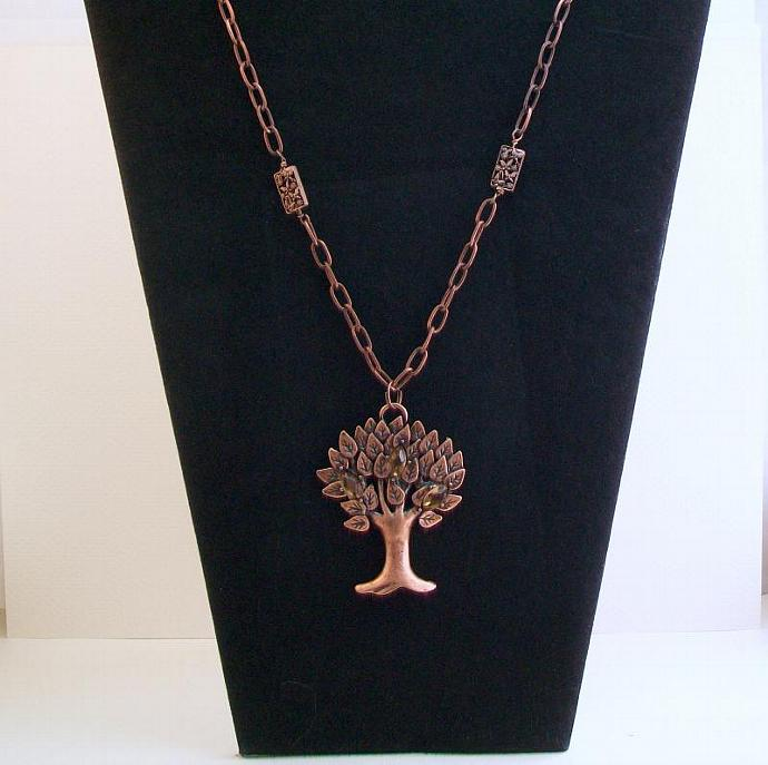 Copper Tree Pendant Necklace