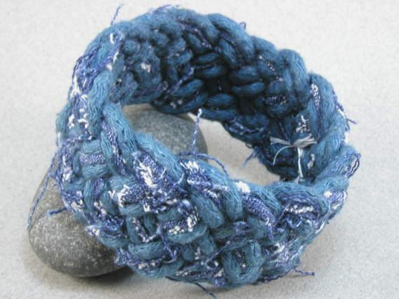 Denim fabric turks head bracelet Global Genes project fundraiser 1696