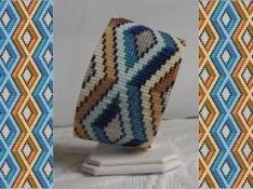 2 Peyote Bead Patterns for Blue Diamonds Cuff Bracelets - 2 For The Price Of 1