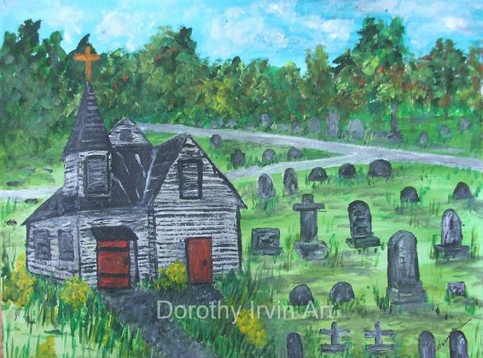 Old Church with Red Doors in a Cemetery