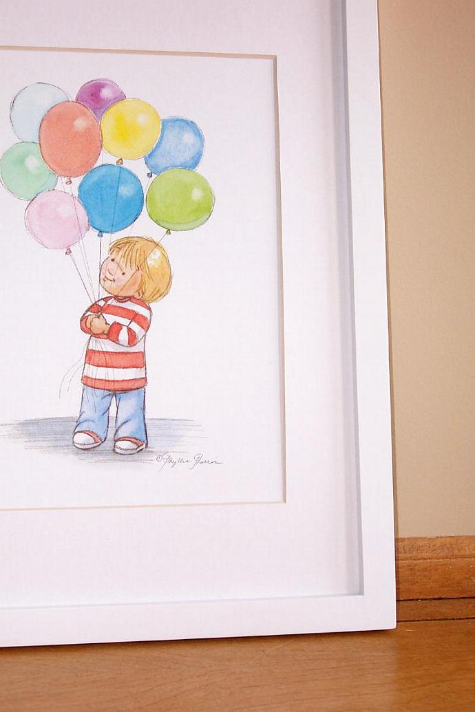 Children's Wall Art - Toddler boy with Balloons - Children's room decor