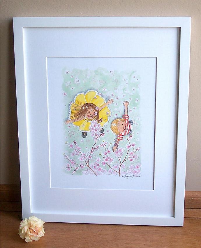 Children's Wall Art Print - Spring shower of pink petals - Children's room