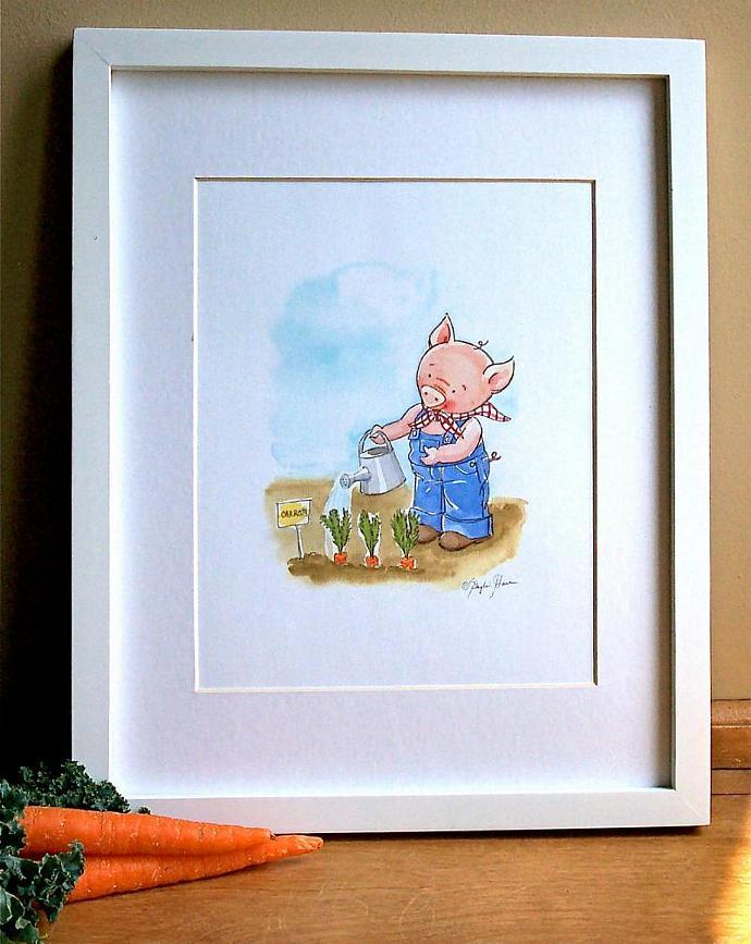 Children's Wall Art Print - Farmer Pig in the garden - Children's room decor