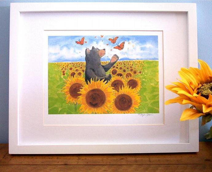 Wall Art Print - Fall Bears and Butterflies - room art decor