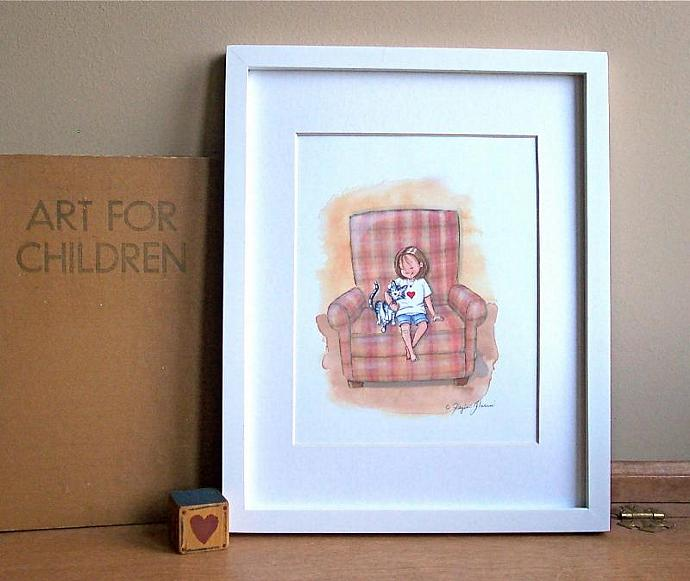 Children's Wall Art Print - Lean on Me - Girl's room decor