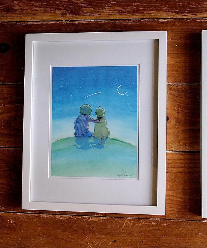 Children's Wall Art Print - Wish Upon a Star - Boy's Nursey or room decor - Blue