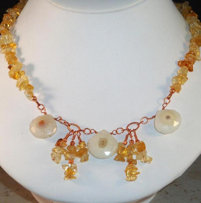 Solar Agate and Citrine Chip Necklace