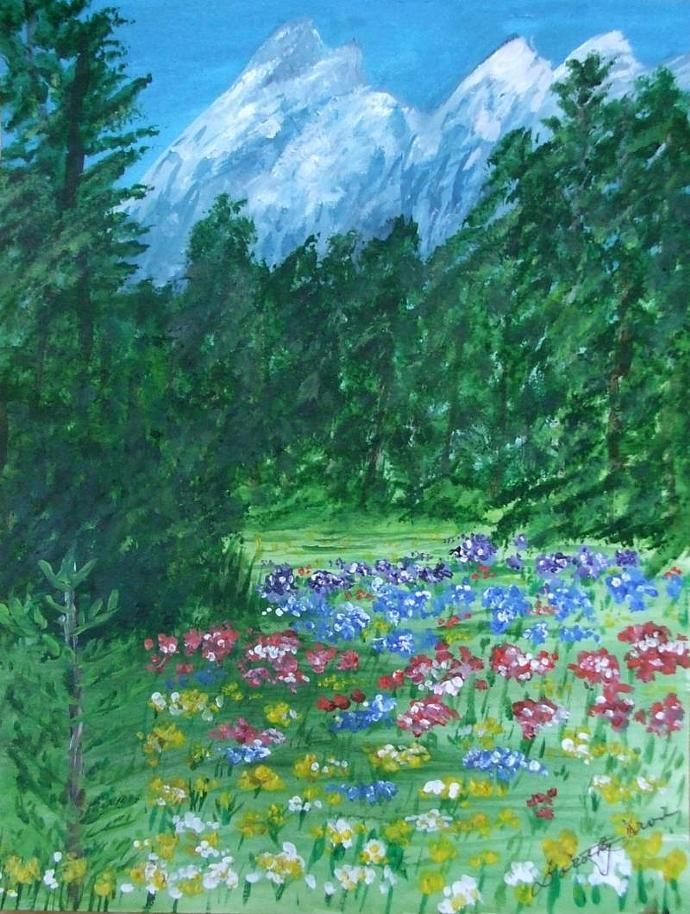 Colorful Field Flowers in the Grand Tetons Art Print