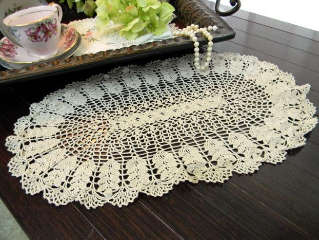 Crochet Oval Doily in a Medium Ecru - Wheat Pattern 8127