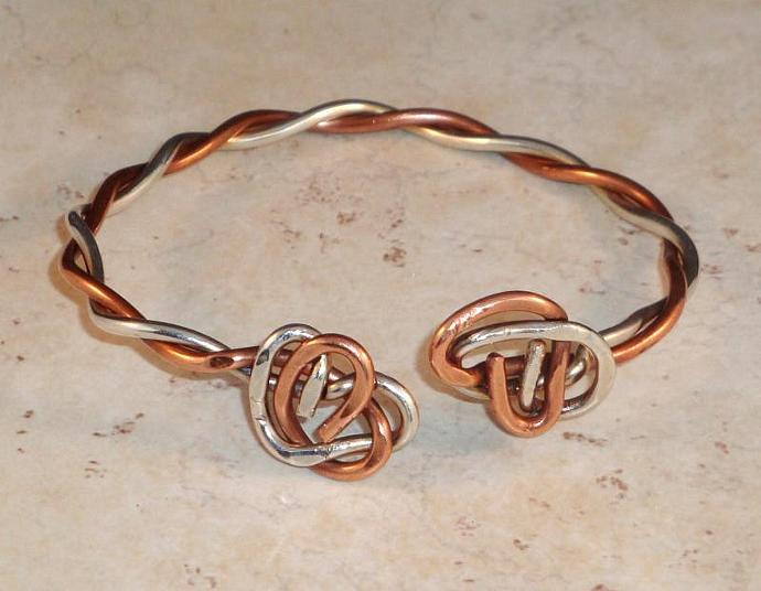 Sterling Silver and Copper Twisted Bracelet
