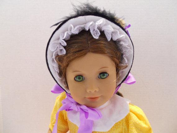 Doll Bonnet OOAK American Girl Black Velvet Lavender