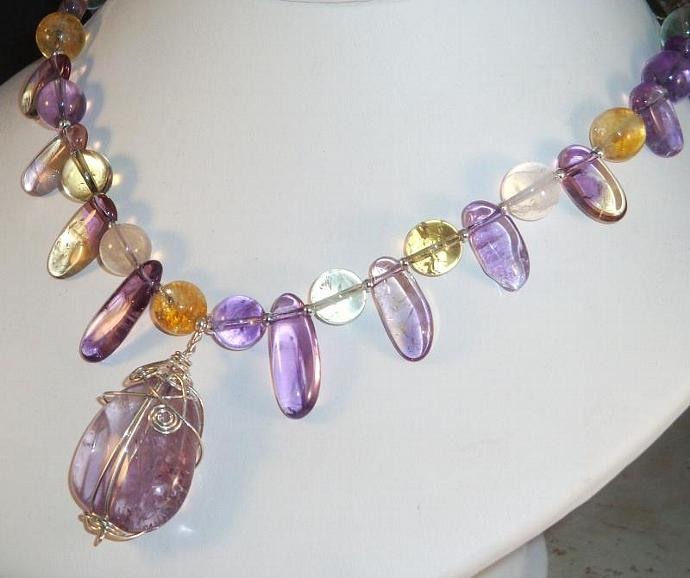 Five Gemstone Pendant Necklace