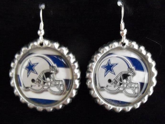 Dallas Cowboy bottle cap earrings