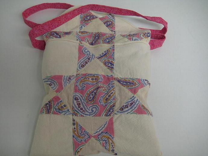 Festival Bag - Hot Pink - Shoulder Strap - Quilt Block - Patchwork