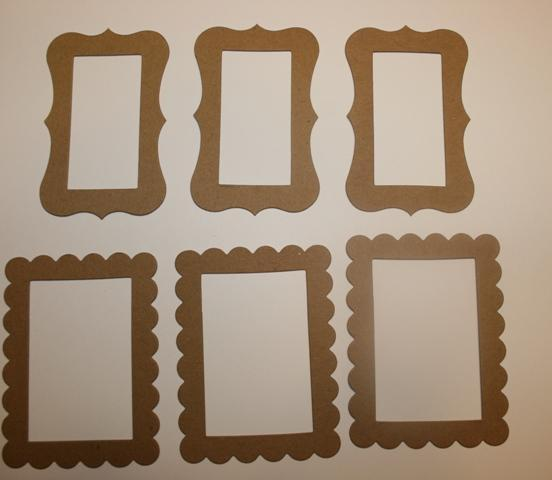 6 Raw chipboard  frames for embellishing your mini albums and scrapbooks CS6