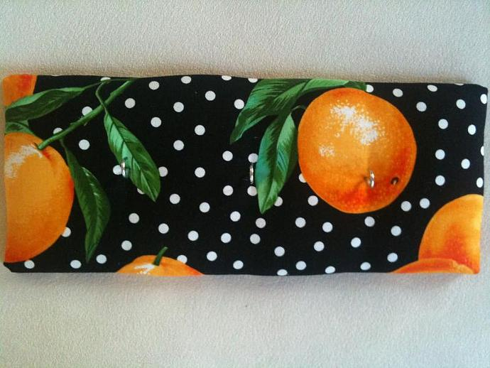 "3 Hooks, Key Rack, Key Holder, ""Oranges"""
