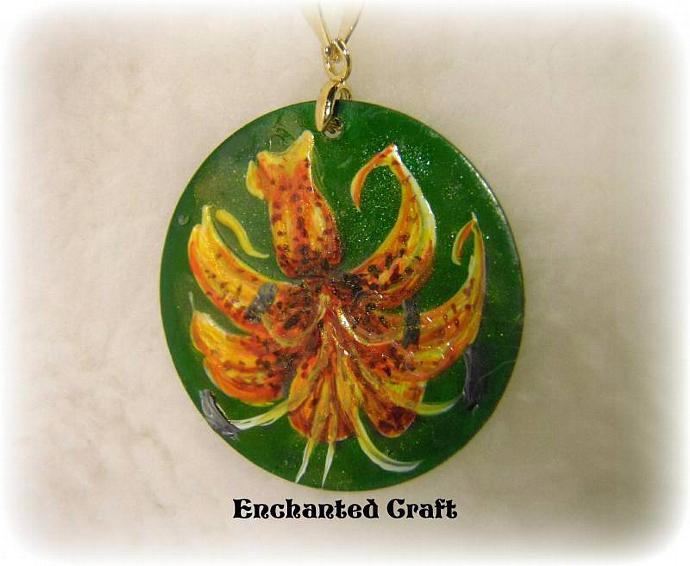 Hand Painted TIGER LILY pendant