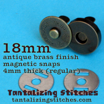 15 Antique Brass 18mm Magnetic Snaps - 4mm thick
