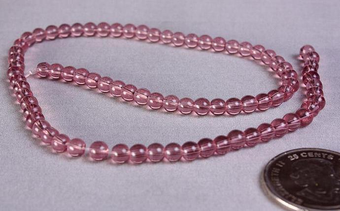 Bead strand Lt. purple round glass bead 4mm 80pc (746)