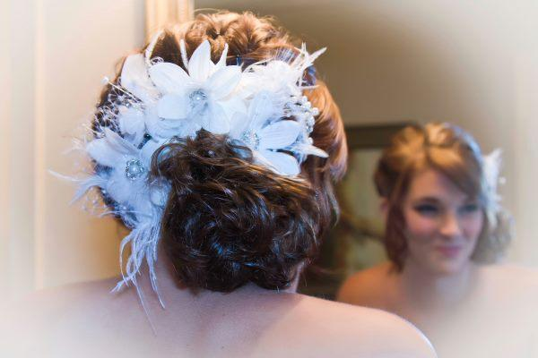 Ivory Flower and Feather Bridal Comb