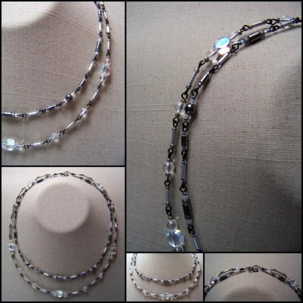 Hematite Clear Coin Double Necklace