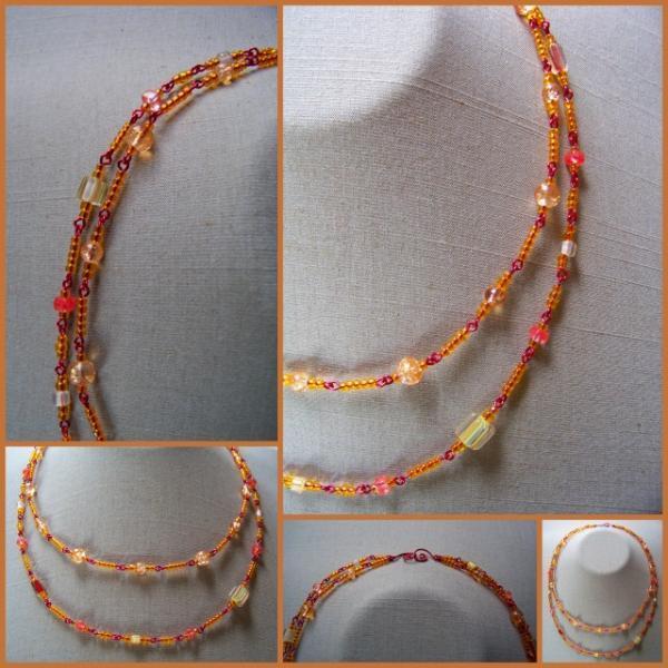 Citrus Cane and Crackle Double Necklace