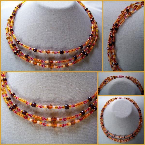 Amber Garnet Diamond Triple  Necklace