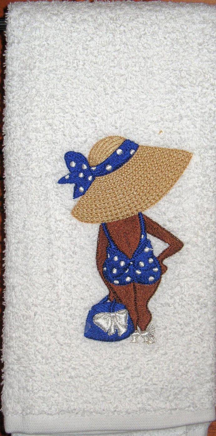 SUN WORSHIPPER (blue bathing suit) hand towel