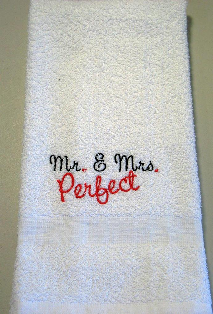 MR. & MRS. PERFECT hand towel