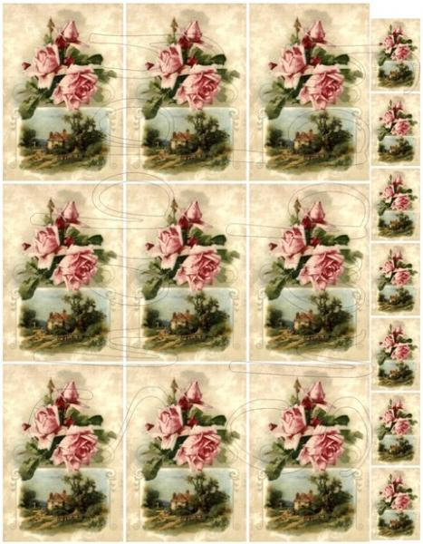 Shabby chic Pink roses and pastoral scene  digital collage sheets for scrapbook