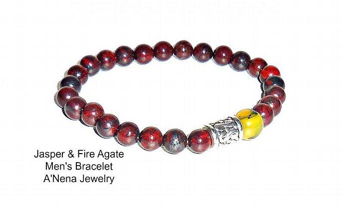 """Men's Bracelet Fire Agate & Jasper """"Suyay"""" (Quechua For Hope) Machu Picchu"""