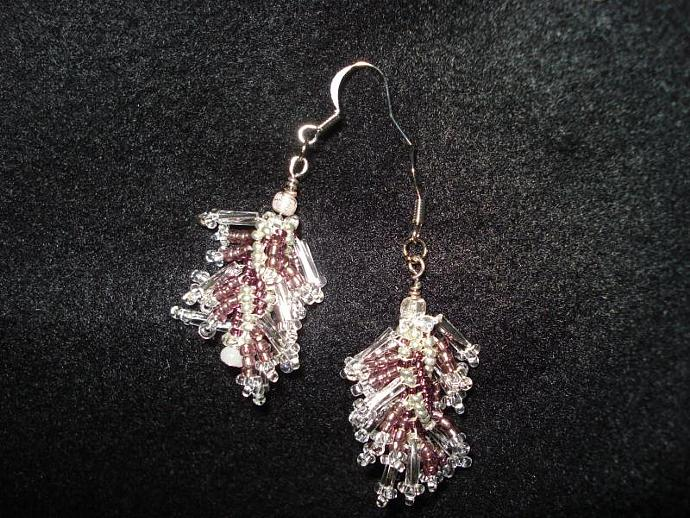 Twisted Bugle Fringe Bead Dangle Earrings